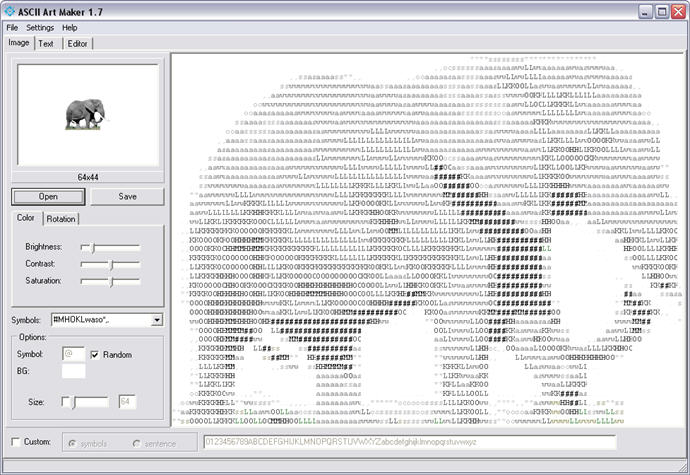Ascii art maker 172 download graphics software ascii art maker 172 ccuart Choice Image