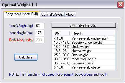 Click to view Optimal Weight 1.0 screenshot