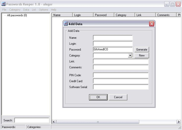 Passwords Keeper 1.8 full